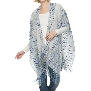 Sonoma One Size Blue Accent Shawl Ruana